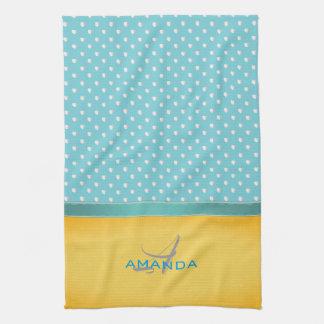 Ocean Blue, Sunny Beach, Silver Hearts Monogram Kitchen Towel
