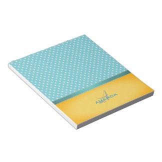 Ocean Blue, Sunny Beach, Silver Hearts Monogram Notepad