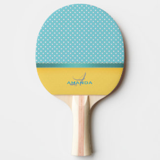 Ocean Blue, Sunny Beach, Silver Hearts Monogram Ping Pong Paddle