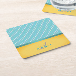 Ocean Blue, Sunny Beach, Silver Hearts Monogram Square Paper Coaster