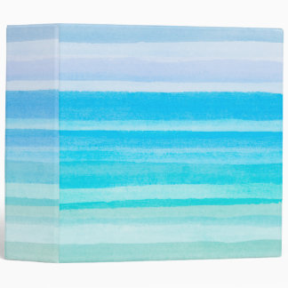 Ocean Blue Teal Watercolor Ombre Stripe Vinyl Binder