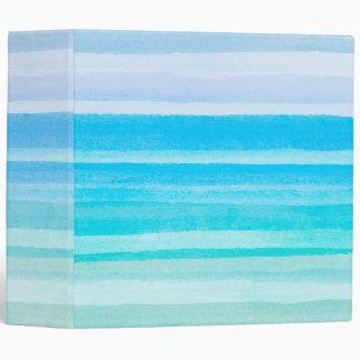 Ocean Blue Teal Watercolor Ombre Stripe Vinyl Binder