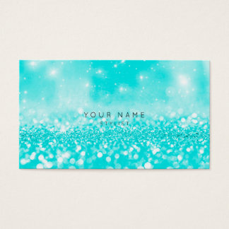 Ocean Blue Turquoise  Glitter Sparkly Stylist Vip Business Card