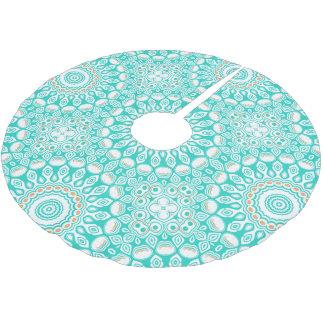 Ocean Blue Turquoise Medallion Brushed Polyester Tree Skirt