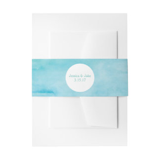 Ocean Blue Watercolor Invite Belly Band Invitation Belly Band