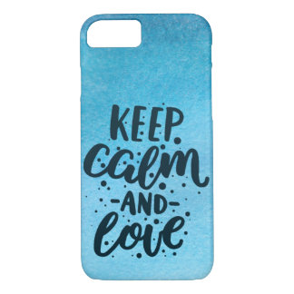 Ocean Blue Watercolor 'Keep Calm and Love' Case