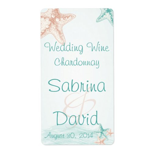 Ocean Breeze Beach Wedding  Wine Label Shipping Labels