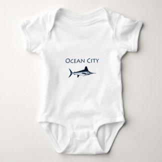 Ocean City Maryland Logo (white marlin) Baby Bodysuit