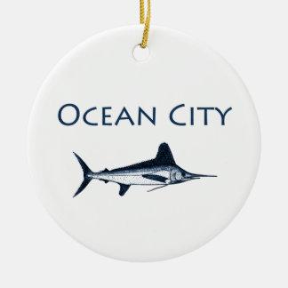 Ocean City Maryland Logo (white marlin) Ceramic Ornament