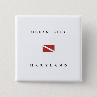 Ocean City Maryland Scuba Dive Flag 2 Inch Square Button
