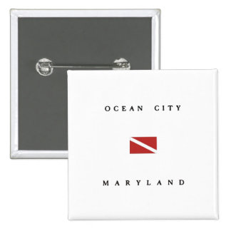 Ocean City Maryland Scuba Dive Flag 2 Inch Square Button