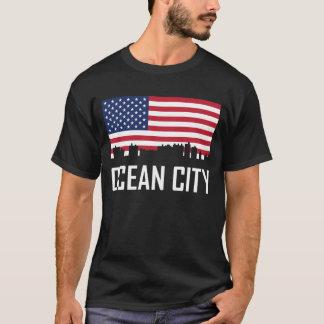 Ocean City Maryland Skyline American Flag T-Shirt
