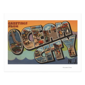 Ocean City, New Jersey - Large Letter Scenes Postcard