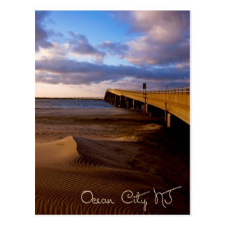 Ocean City New Jersey Sunset on Bridge Postcard