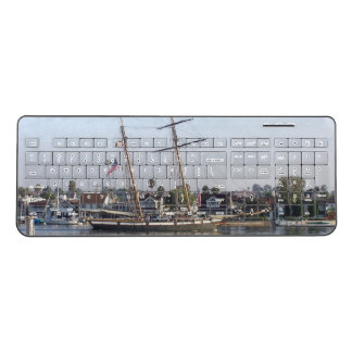 Ocean Clipper Ship Beach Town Wireless Keyboard