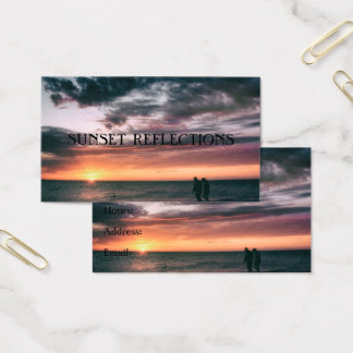 Ocean Cloudy Sunset Reflection Bright Seascape Business Card