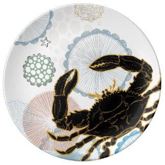 Ocean Coastal Crab - Porcelain large plate Porcelain Plates