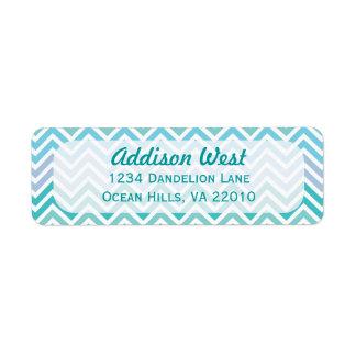 Ocean Colors Chevron Address Labels