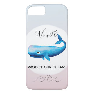 Ocean Conservation Ombre Marine Whale Typography iPhone 8/7 Case