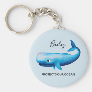 Ocean Conservation Watercolor Whale Sea Typography Keychain