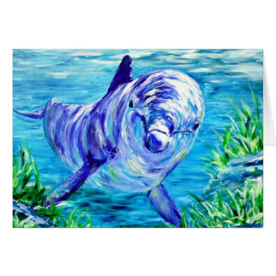 Ocean Dolphins Painting Dolphin Underwater Picture Card