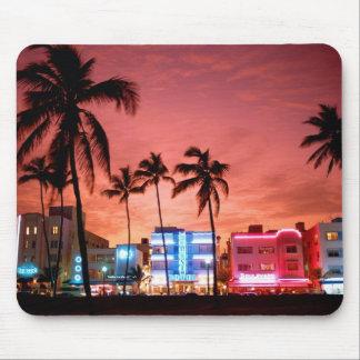 Ocean Drive Miami Beach Skyline Computer Mousepad