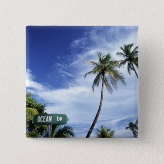 Ocean Drive' road sign, South Beach, Miami, Florid 2 Inch Square Button