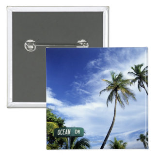 Ocean Drive' road sign, South Beach, Miami, Florid 2 Inch Square Button