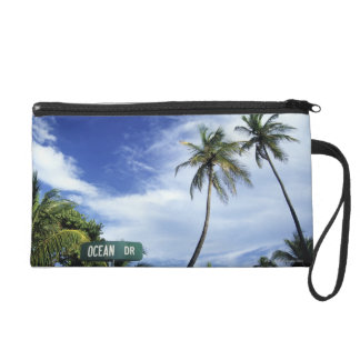 Ocean Drive' road sign, South Beach, Miami, Florid Wristlet Purses