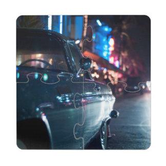 Ocean Drive vintage car Drink Coaster Puzzle