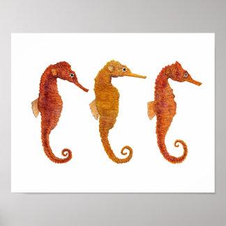 Ocean Equine Triplet Poster
