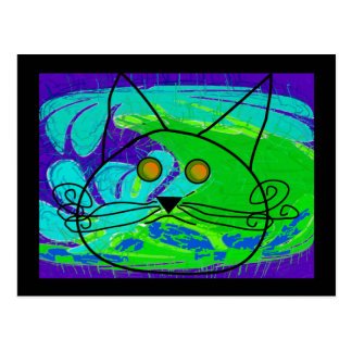Ocean Fearing Cat Poster --Whimisical Postcard