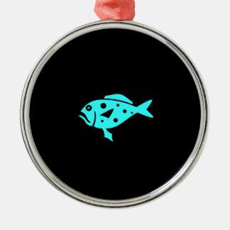 Ocean Glow_Aqua Blue-on-Black Grouper Metal Ornament