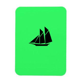 Ocean Glow_Black-on-Green Clipper Ship Rectangular Photo Magnet