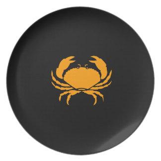 Ocean Glow_Orange on Black Crab Plate