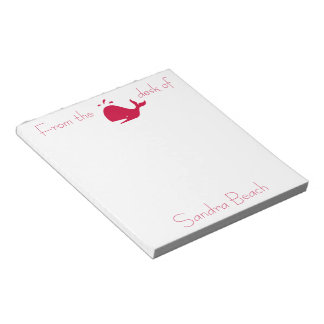 Ocean Glow_Red Whale personalized Notepad