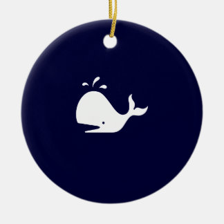 Ocean Glow_White-on-Blue Whale necklace Ceramic Ornament