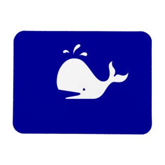 Ocean Glow_White-on-Blue Whale Rectangular Photo Magnet