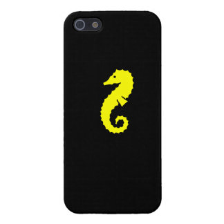 Ocean Glow_Yelllow-on-Black Seahorse iPhone 5/5S Cover