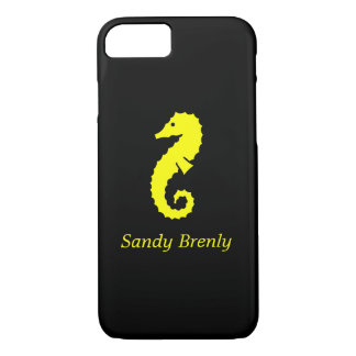 Ocean Glow_Yellow-on-Black Seahorse_personalized iPhone 7 Case