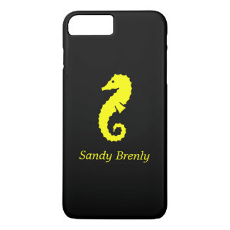 Ocean Glow_Yellow-on-Black Seahorse_personalized iPhone 7 Plus Case