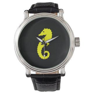 Ocean Glow_Yellow-on-Black Seahorse Watches