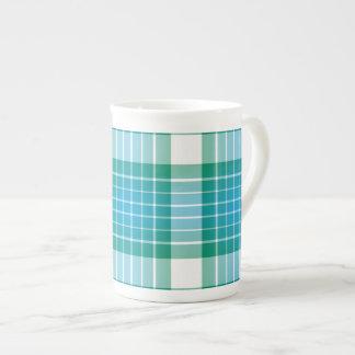 Ocean Grid Plaid Porcelain Mug