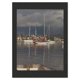 Ocean Harbor Sailboats Boats Sea Tissue Paper