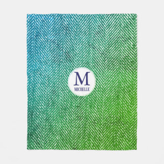 Ocean Hues Gradient Herringbone & Monogram Fleece Blanket