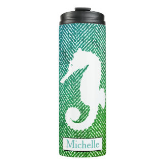 Ocean Hues Herringbone White Seahorse Thermal Tumbler