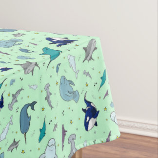 Ocean in Green Tablecloth