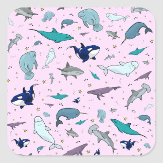 Ocean in Pink Square Sticker