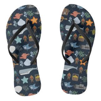 Ocean Inhabitants Pattern 1 Flip Flops