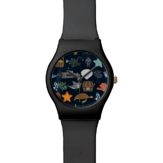 Ocean Inhabitants Pattern 1 Wristwatch